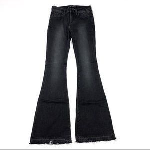 Express    Mid Rise Bell Flare Black Distressed 2